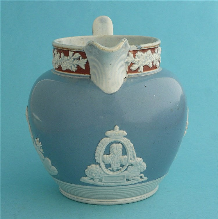 1817 Charlotte in memoriam: a pearlware jug the pale blue ground moulded wi