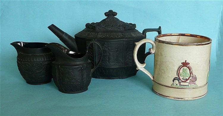 1817 Charlotte in memoriam: a moulded black basalt teapot with unusual slid