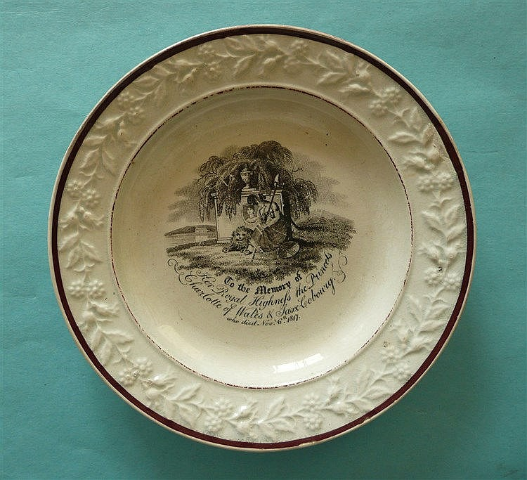 1817 Charlotte in memoriam: a pearlware nursery plate with floral and folia