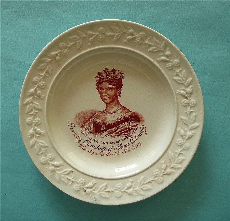 1817 Charlotte in memoriam: a good pearlware nursery plate with floral and