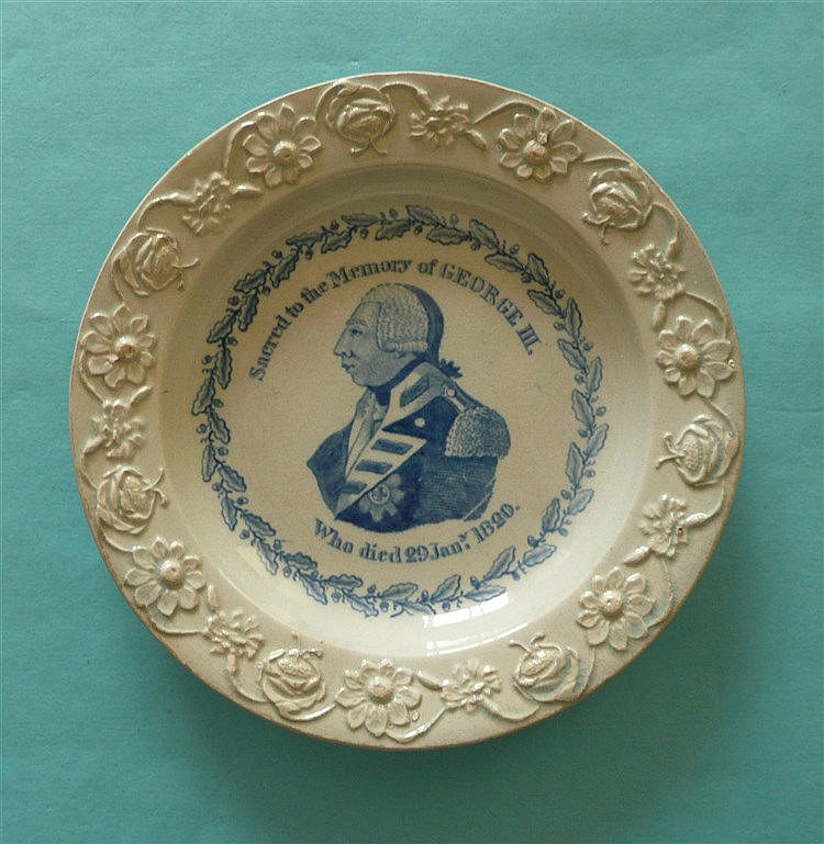 1820 George III in Memoriam: a small pearlware nursery plate with floral mo