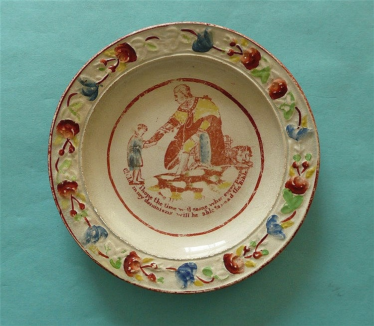 1820 George III: a nursery plate moulded with colourful border and printed
