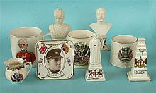 Five World War I crested pieces, two similar mugs for 1919 peace, another L