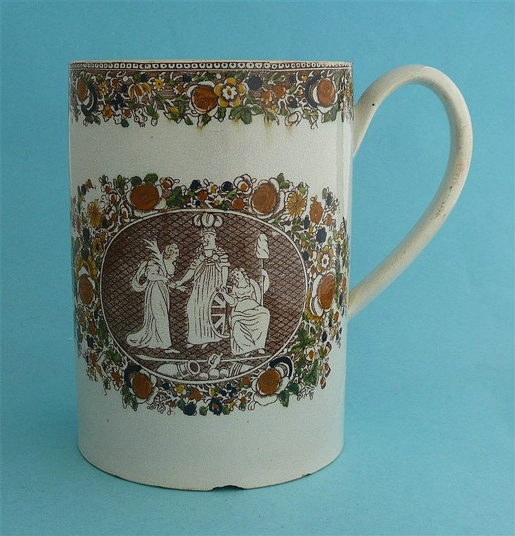 1802 Peace of Amiens: a large pearlware tankard printed in brown and decora