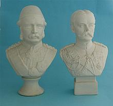 A white parian portrait bust depicting General Gordon, circa 1885, 202mm an