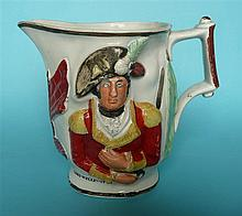 Lord Wellington and General Hill: a colourful moulded jug with named portra
