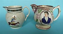 A pearlware jug printed in grey and decorated in colours with a cartoon 'Bo