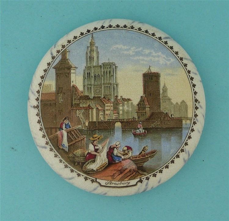 Strasburg (331) large, black marbled border pot lid, pot lids, potlid, p