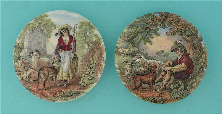 The Shepherdess (325) and The Shepherd Boy (326) (2)    pot lid, pot lids,