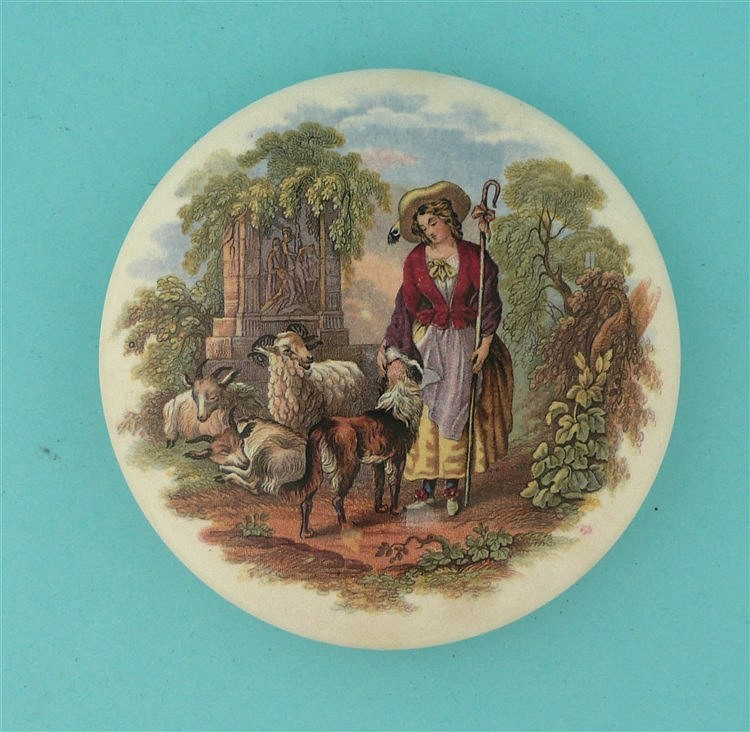 The Shepherdess (325) large    pot lid, pot lids, potlid, potlids, prattwar
