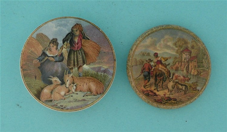 Lady, Boy and Goats (316) and The Old Water Mill (318) domed lid, stained (