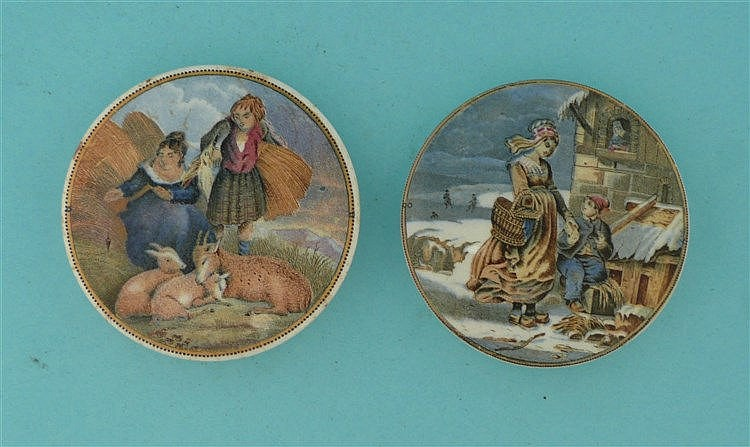 Lady, Boy and Goats (316) and Dutch Winter Scene (308) (2)    pot lid, pot