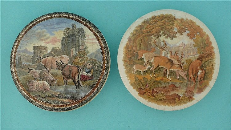 Cattle and Ruins (315) and Deer Drinking (321) large (2)    pot lid, pot li