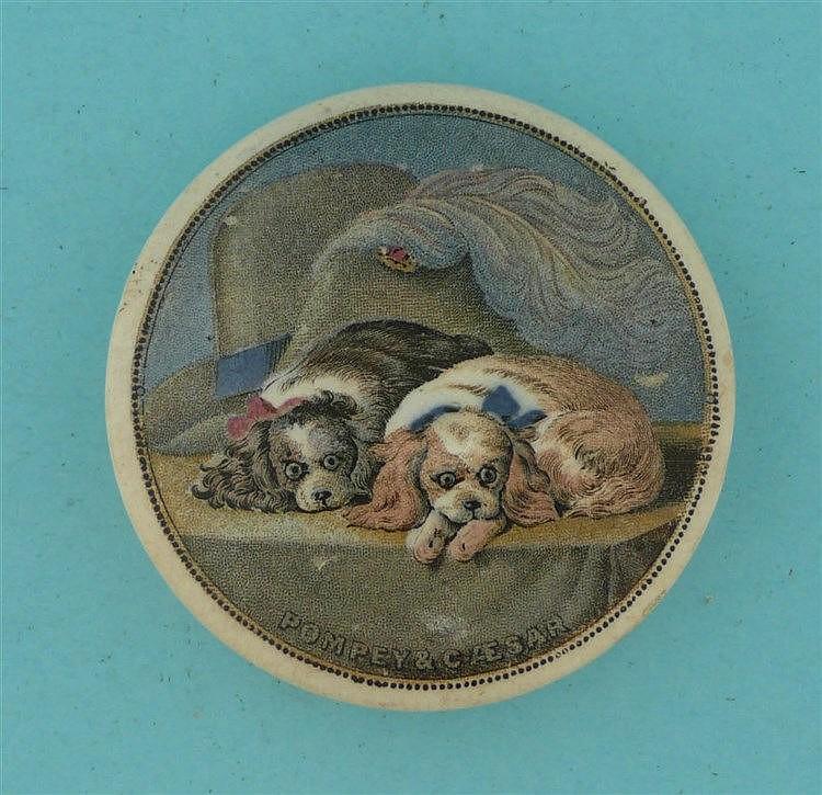Pompey and Caesar (271)    pot lid, pot lids, potlid, potlids, prattware