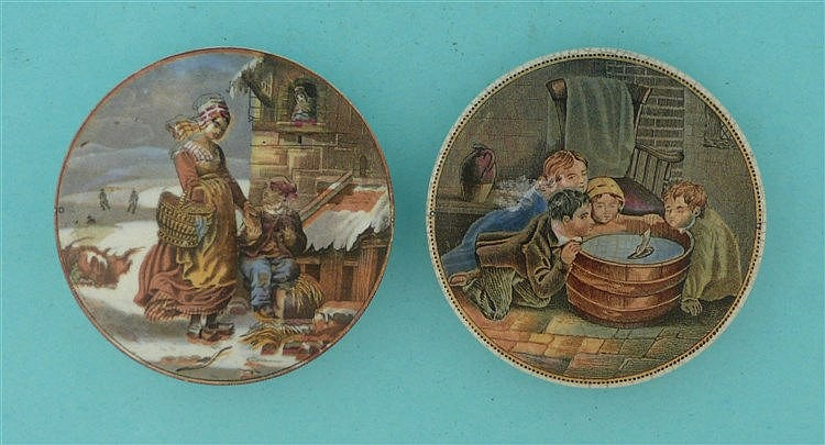 Dutch Winter Scene (308) and Children Sailing Boat (263) (2) pot lid, po