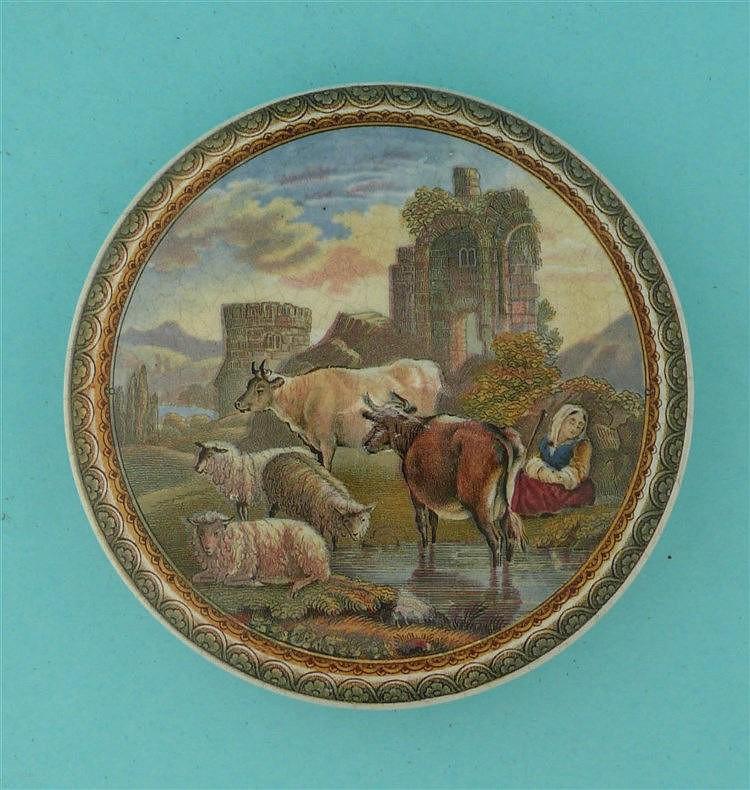 Cattle and Ruins (315) large pot lid, pot lids, potlid, potlids, prattwa