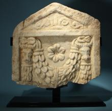 Roman Marble Bucranium Stele