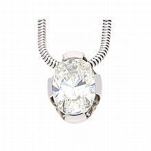 18K White Gold Oval Brilliant Necklace | Ovaler Diamant von 5,016 ct als Anhänger an Collier in 750er Weißgold