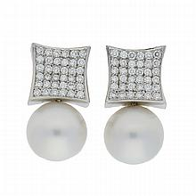 18K White Gold Brilliant South Sea Pearls Earrings | Paar Ohrclipse mit Südseeperlen und Brillanten in 750er Weißgold