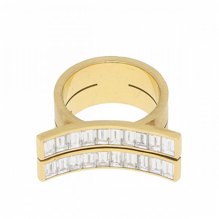18K Yellow Gold Baguette Diamond Designer Ring | Designer Ring aus 750er Gelbgold mit Diamant-Baguettes