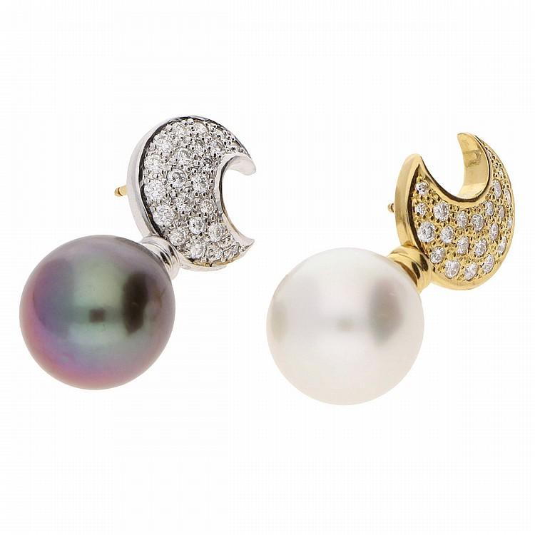 18K Yellow Gold and White Gold Earrings   Ohrhänger aus 750er Gelb- und Weißgold