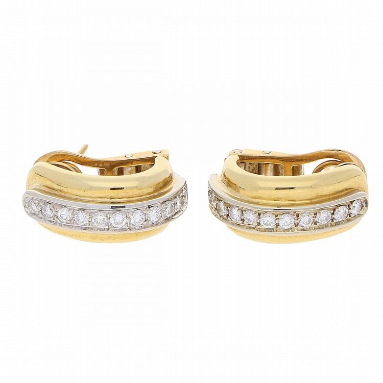 18K Yellow Gold and White Gold Earrings | Ohrstecker aus 750er Gelb- und Weißgold