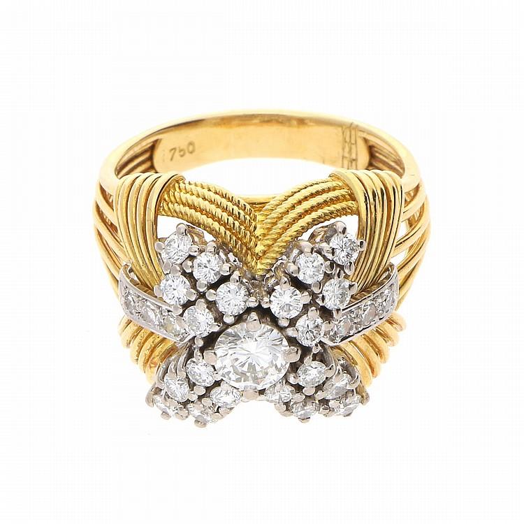 18K Yellow Gold White Gold Ring | Ring aus 750er Gelb- und Weißgold