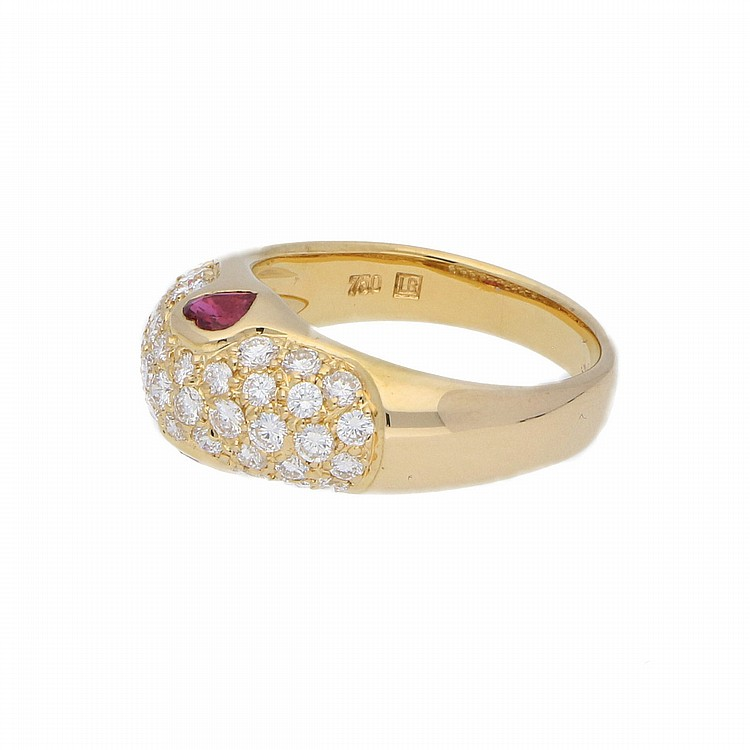 18K Yellow Gold Brilliant and Ruby Ring | Brillant-Ring mit Rubin in 750er Gelbgold