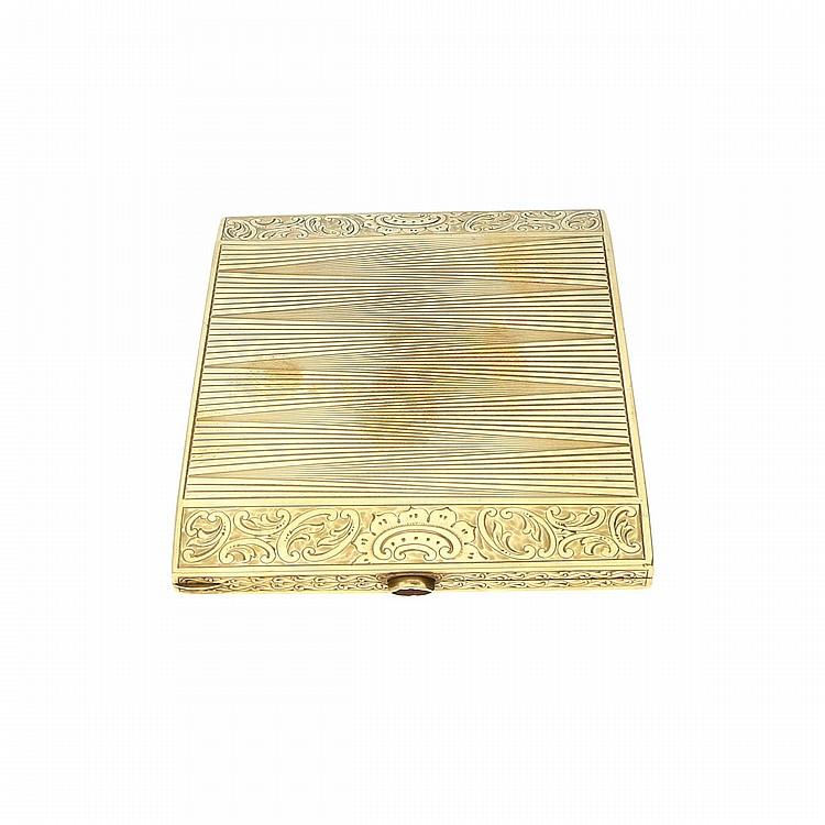 14K Yellow Gold Cigarette Case   Zigarettenetui aus 585er Gelbgold