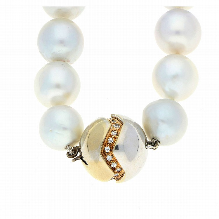 14K White Gold South Sea Pearls Necklace | Südseeperlenkette