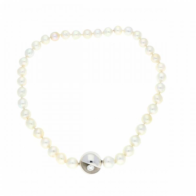 18K White Gold South Sea Pearls Necklace   Südseeperlenkette mit Schließe aus 750er Weißgold