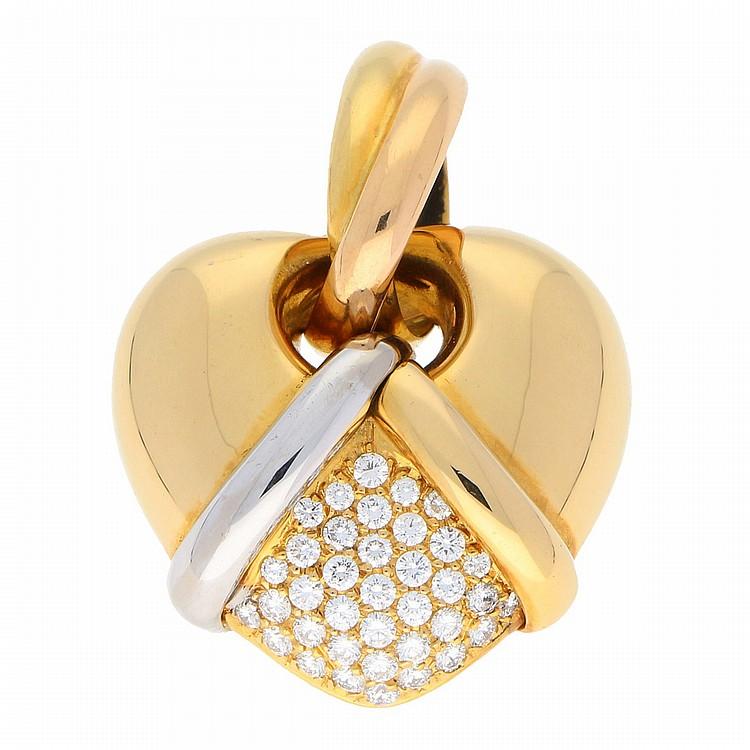 18K Yellow Gold and White Gold Brilliant Necklace | Anhänger in 750er Gelb- u. Weißgold mit Brillanten