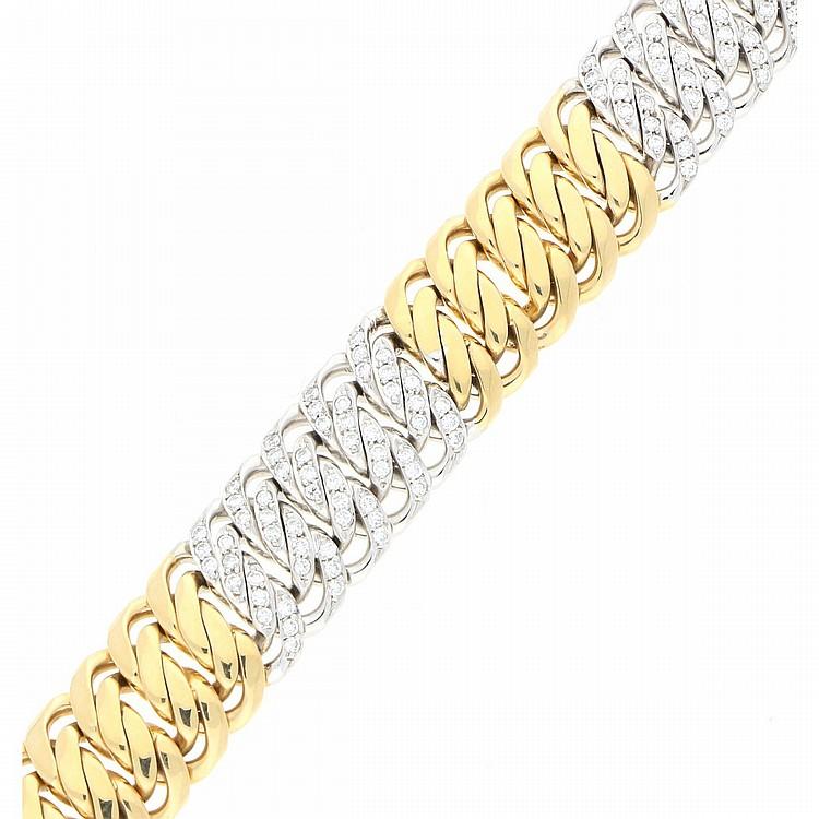 14K Yellow Gold and White Gold Bracelet   Armband aus 585er Gelb- und Weißgold