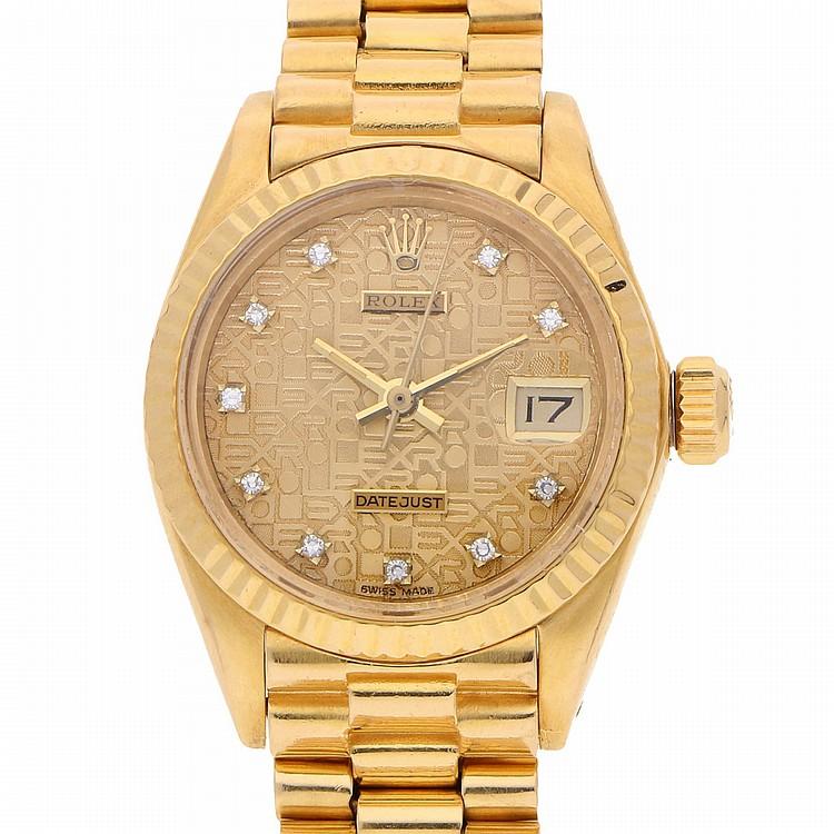 18K Yellow Gold Rolex Datejust Womens Wristwatch | Rolex Datejust Damengoldbanduhr mit Präsidentarmband