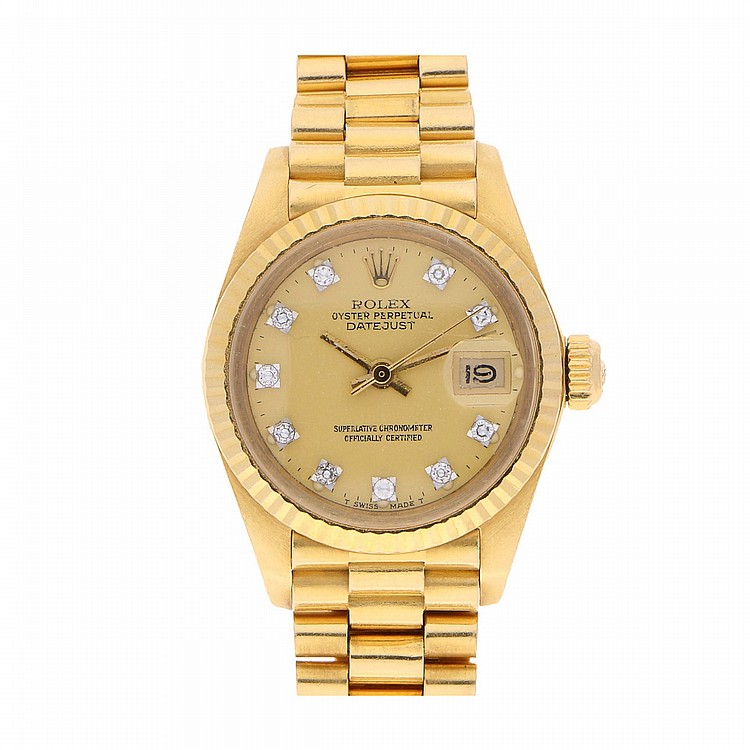 18K Yellow Gold Rolex Datejust Womens Wristwatch | Rolex Datejust Damengoldbanduhr in 750er Gelbgold