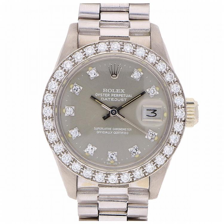 18K White Gold Brilliant Rolex Womens Wristwatch | Rolex Damengoldbanduhr in 750er Weißgold mit Brillanten