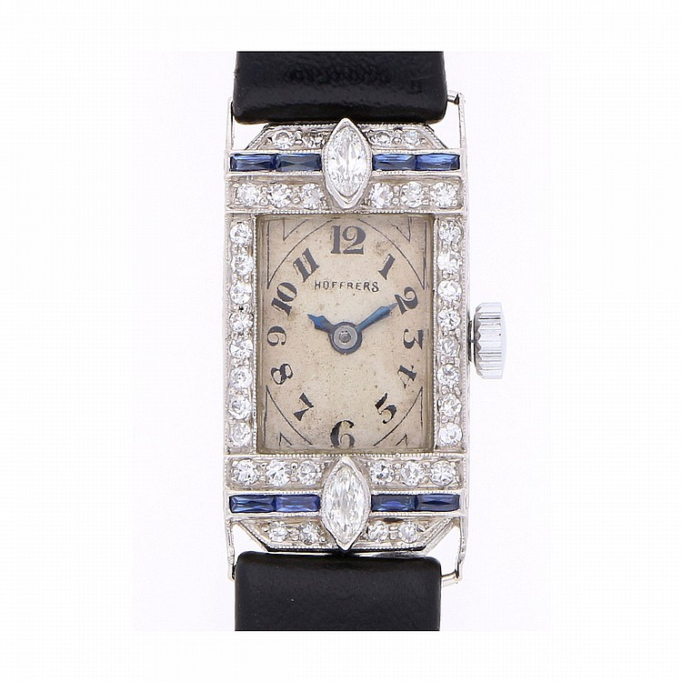 Art-Deco Wristwatch - Platinum | Art-Deco Platin Armbanduhr