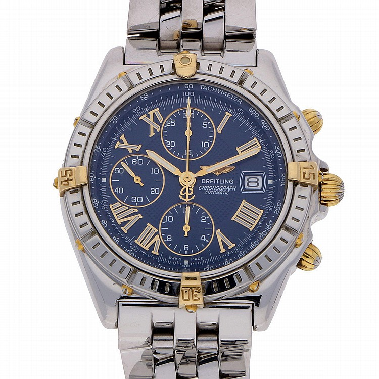 Breitling Chronograph Mens Wristwatch - Steel | Breitling Herren-Chronograph Stahl mit Goldapplikationen