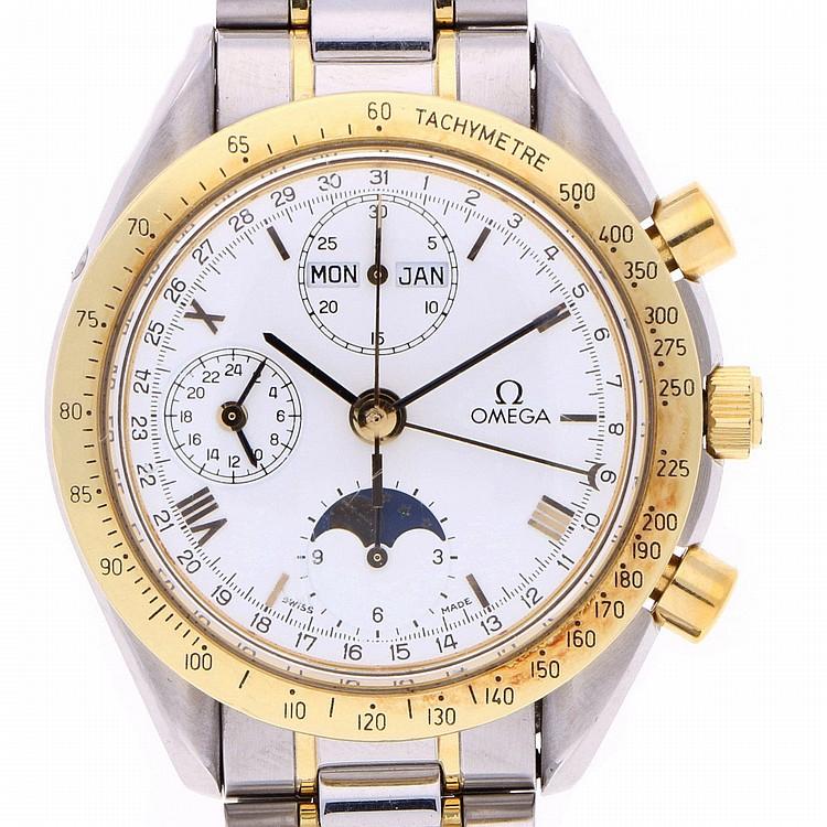 Bicolor Omega Speedmaster Chronograph Mens Wristwatch | Omega Speedmaster Chronograph bicolor