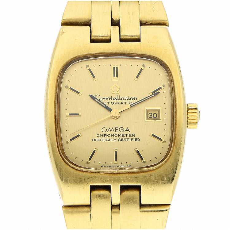 18K Yellow Gold Omega Chronometer Womens Wristwatch | Omega Constellation Automatic Damengoldbanduhr in 750er Gelbgold