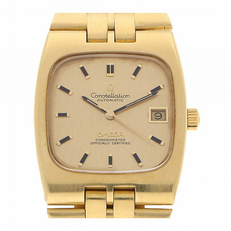 18K Yellow Gold Omega Constellation Automati Mens Wristwatch | Omega Constellation Automatic Herrengoldbanduhr in 750er Gelbgold