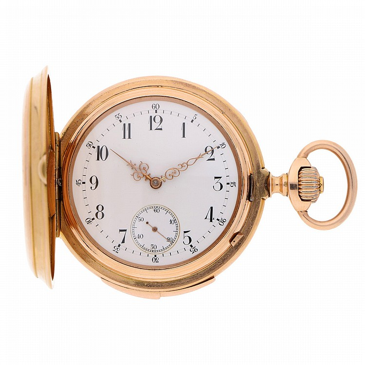 14K Yellow Gold Pocket Watch features: 1/4 repetition | Goldene Schlagwerktaschenuhr mit 1/4 Repetition