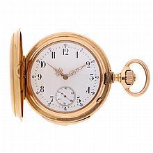 14K Yellow Gold Pocket Watch features: 1/4 repetition   Goldene Schlagwerktaschenuhr mit 1/4 Repetition