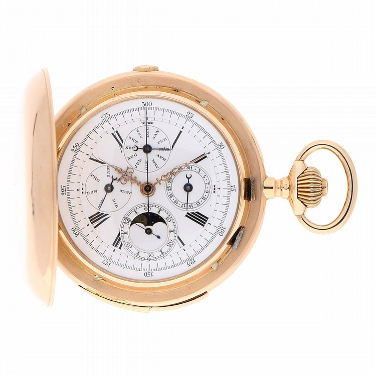 14K Yellow Gold Pocket Watch features: 1/4 repetition and Phase of the Moon   Große Goldtaschenuhr mit 1/4 Repetition und großem kalendarium
