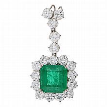 18K White Gold Emerald Brilliant Pendant | Hochwertiger Juwelen-Anhänger mit Smaragd und Brillanten in 750er Weißgold
