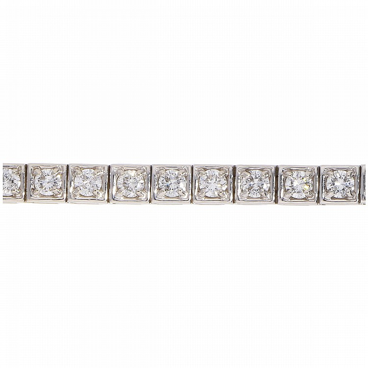 14K White Gold Brilliant Bracelet   Tennisarmband mit Brillanten in 585er Weißgold