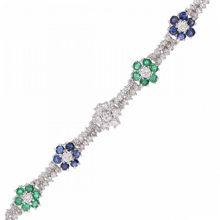18K White Gold Diamond Sapphire Emerald Bracelet | Juwelen-Armband mit Diamanten, Saphiren und Smaragden in 750er Weißgold