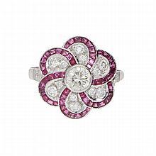 Ruby Diamond Ring - Platinum | Platinring mit Brillanten und Rubinen