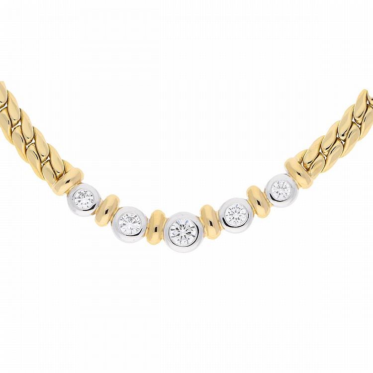 18K Bicolor Necklace | Brillantcollier in 750/- Bicolor-Gold