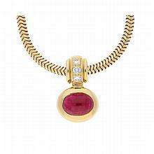 18K Yellow Gold Ruby and Brilliant Necklace | Anhänger in 750er Gelbgold mit Rubin und Brillanten an Schlangenkette